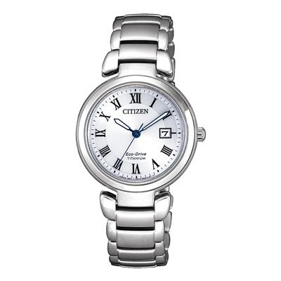 CITIZEN 星空銀河鈦金屬光動能腕錶-銀河藍(EW2500-88B)-28mm