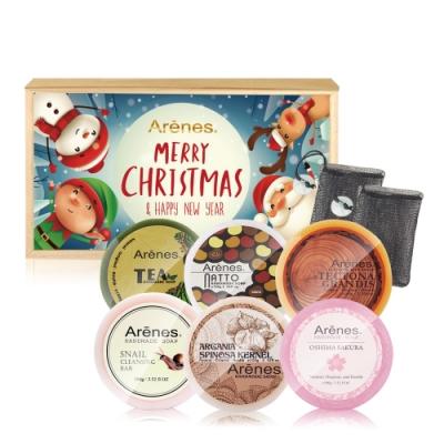 Arenes煥采美肌手工皂木盒禮袋組(手工皂*6+聖誕木盒+贈皂袋*2+牛皮小提袋)