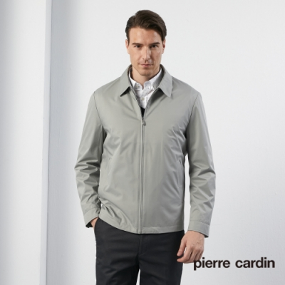 Pierre Cardin皮爾卡登 男裝 進口蠶絲面料翻領薄夾克外套--灰綠色(5195602-42)