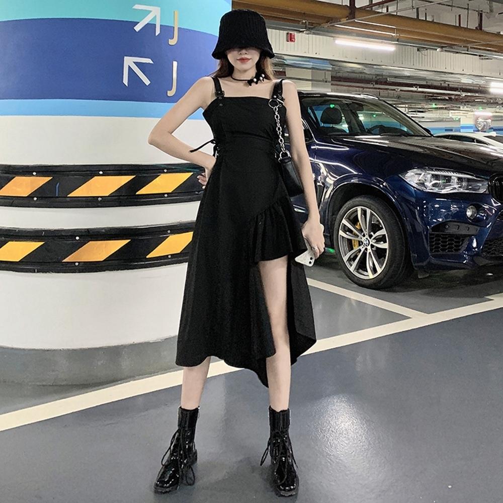 波浪斜邊不規則裙襬吊帶洋裝S-4XL-Sexy Devil