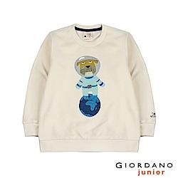 GIORDANO 童裝手繪風格宇宙動物刷毛長袖上衣-17 古典奶油