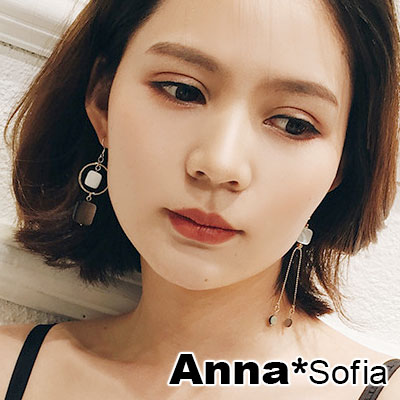 AnnaSofia 方彩貝雙垂鍊 不對稱925銀針耳針耳環