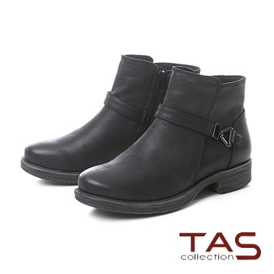 TAS復古擦色銅釦皮帶粗跟短靴–帥氣黑