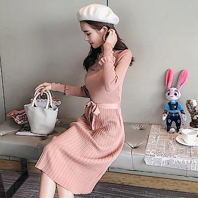 DABI 韓系圓領系帶長裙修身顯瘦針織長袖洋裝