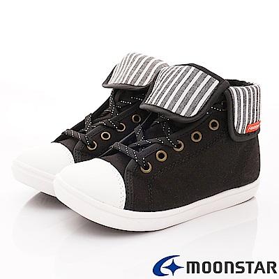 日本月星頂級童鞋 休閒雅痞短筒鞋 JFI066黑(中大童段)