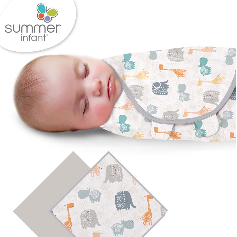 美國 Summer Infant 嬰兒包巾, 純棉 2入 (圖騰動物)