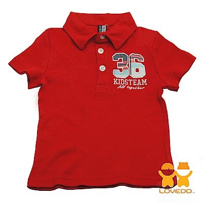 【LOVEDO-艾唯多童裝】運動球員36號 潮流短袖Polo衫(紅)