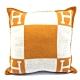 HERMES 經典H LOGO方型抱枕 (橘/米白) product thumbnail 1