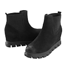 Robinlo 質感磨砂牛皮內增高踝靴 黑色