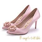 Pineapple Outfitter 優雅名媛 緞面水鑽高跟鞋-粉色