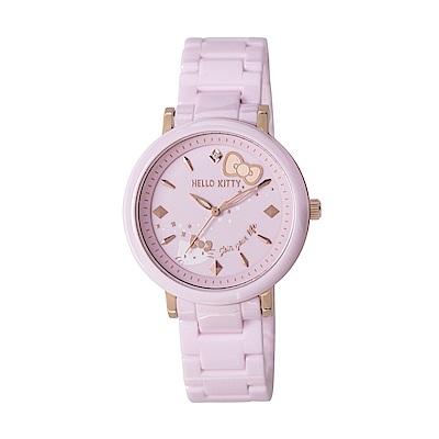 HELLO KITTY 凱蒂貓 45週年紀念陶瓷手錶-粉紅x玫瑰金/35mm