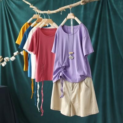 糖果色純棉圓領T恤洋氣顯瘦抽繩短袖上衣-設計所在