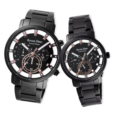 Roven Dino羅梵迪諾 經典時刻三眼對錶-黑-44cm/36cm