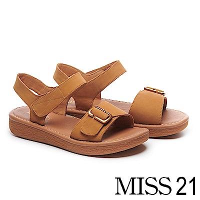 涼鞋 MISS 21 復古率性古銅方釦繫帶磨砂牛皮厚底涼鞋-咖