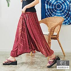 潘克拉 羽毛印花飛鼠褲-紅色