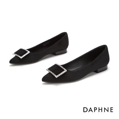 達芙妮DAPHNE 跟鞋-輕奢鑽飾方扣尖頭低跟鞋-黑
