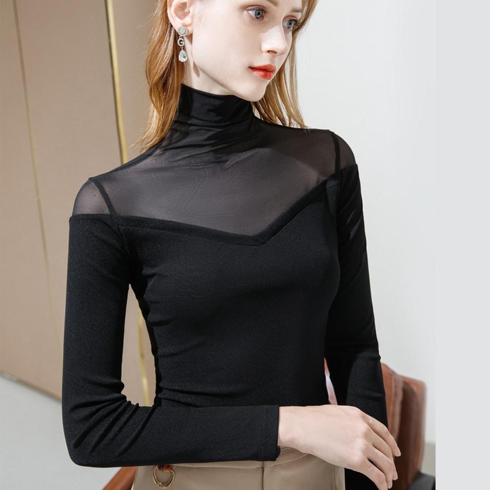 專注內搭-高領網紗內搭長袖T恤性感透視彈力上衣(二色M-3XL可選)