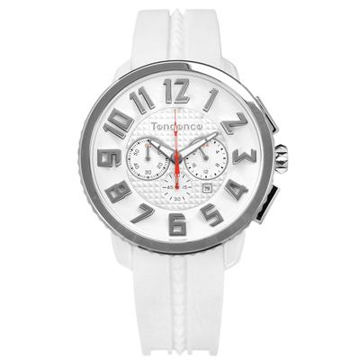 Tendence 天勢表 立體刻度三眼日期防水矽膠手錶-白色/46mm