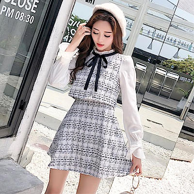 DABI 韓國風氣質小香風長袖假兩件呢子長袖洋裝
