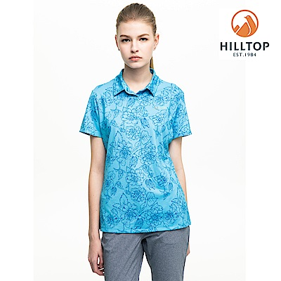【hilltop山頂鳥】女款吸濕快乾抗UV抗菌POLO衫S14FF5藍印花