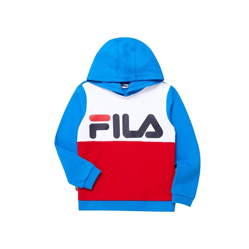 FILA KIDS WONNIE FRIENDS 童長袖連帽上衣-藍1TEU-4508-BU