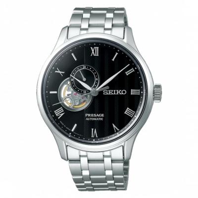 SEIKO 精工PRESAGE開芯機械錶-銀x黑4R39-00W0D/SSA377J1