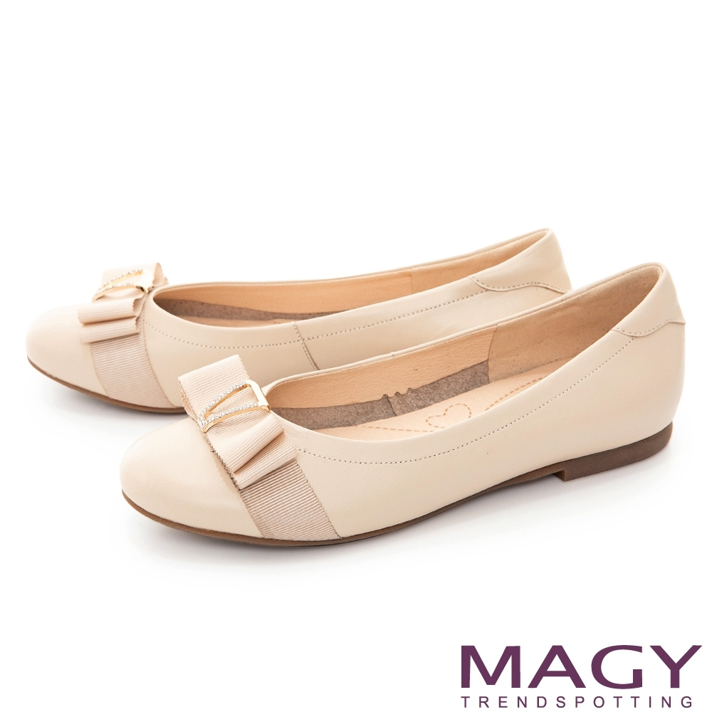 MAGY 水鑽織帶蝴蝶結真皮 女 平底鞋 米色