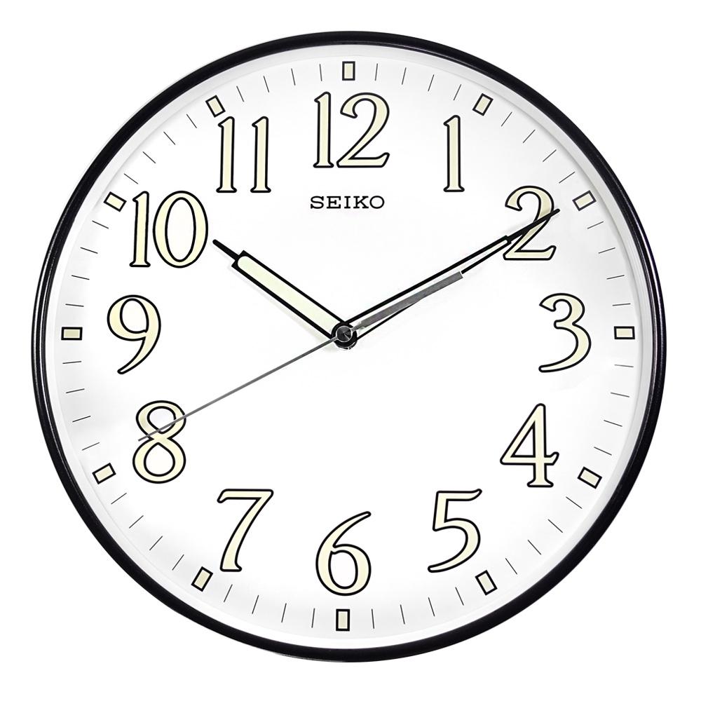 SEIKO 精工 / 30cm 數字刻度 夜光 球型鏡面 滑動秒針 餐廳客廳臥室 靜音掛鐘-白x黑框 / QXA521K