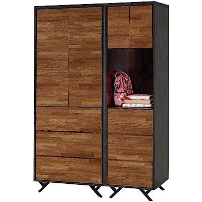 綠活居 凱斯雙色4.5尺四門六抽衣櫃/收納櫃組合-135x55x203cm免組