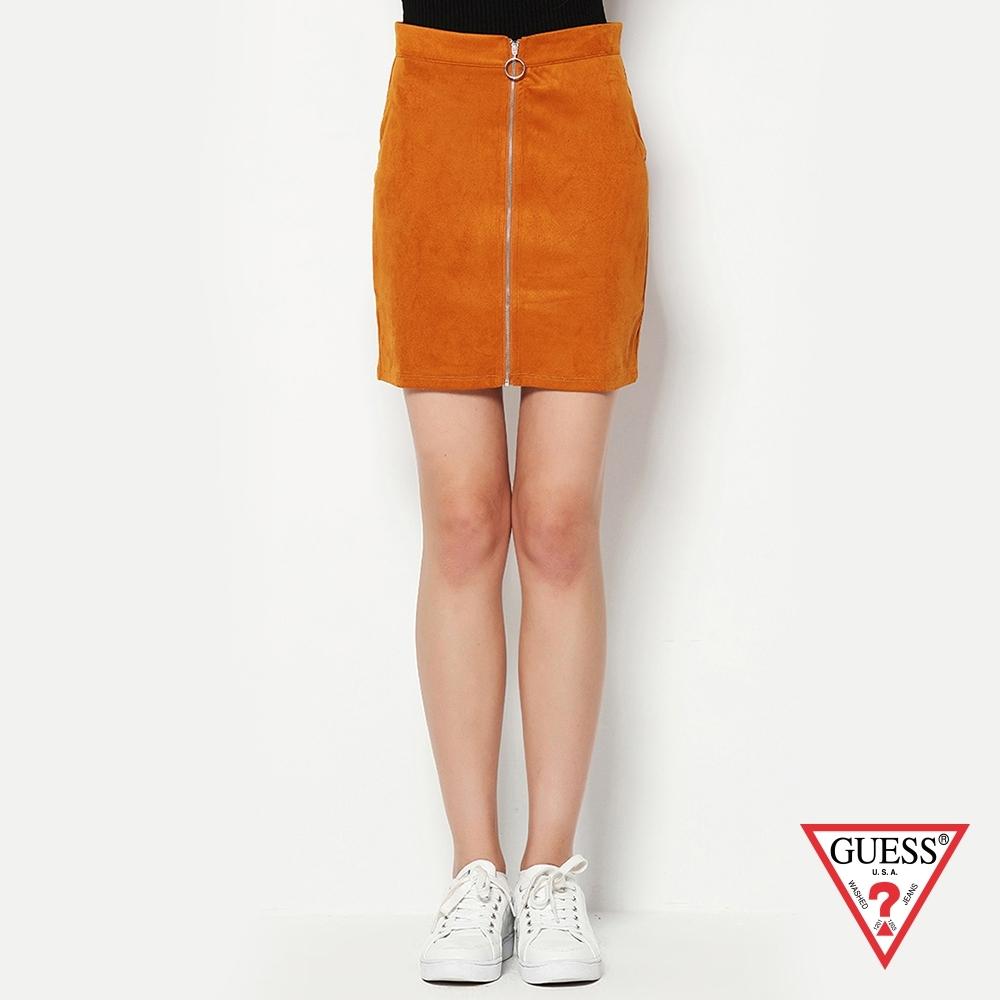 GUESS-女裝-麂皮前拉鍊百搭短裙-橘 原價1690