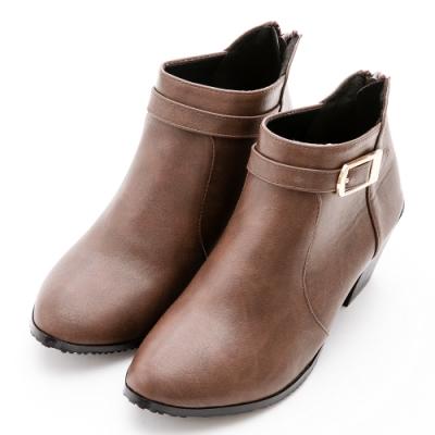 River&Moon短靴-方金扣尖圓楦粗跟短靴-咖