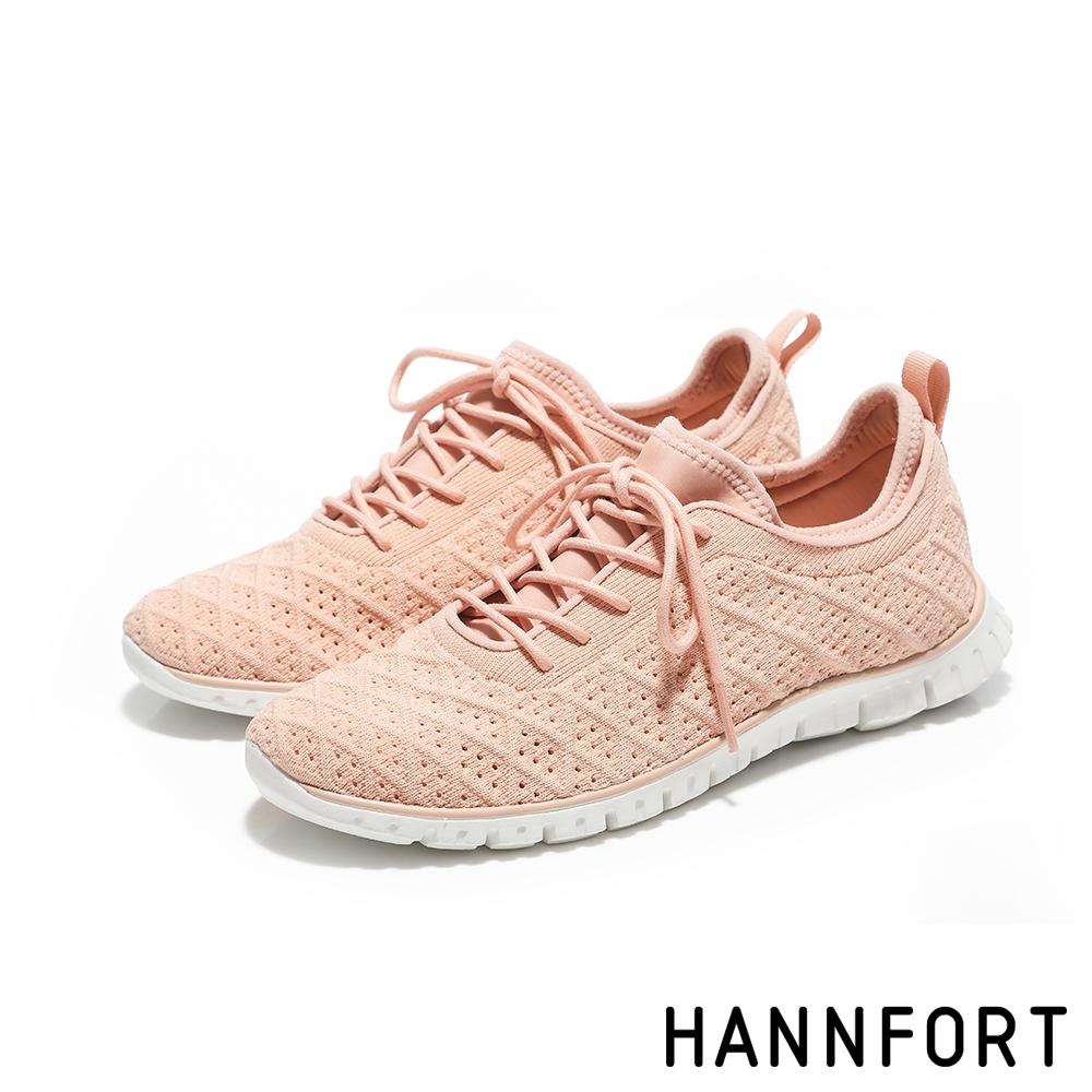 HANNFORT ZERO GRAVITY編織菱格紋氣墊運動鞋-女-裸膚粉