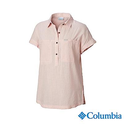 Columbia 哥倫比亞 女款-純棉短袖半開襟襯衫-粉紅 UAR25500PK