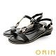 ORIN 皮革金屬U環飾釦涼鞋 黑色 product thumbnail 1