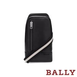 BALLY TANIS 經典黑白織帶小牛皮胸口斜背包-黑