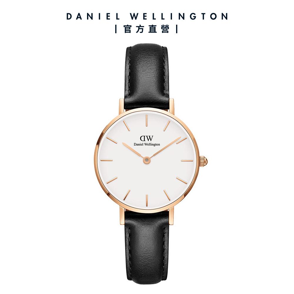 【Daniel Wellington】官方直營 Petite Sheffield 28mm爵士黑真皮皮革錶 DW手錶