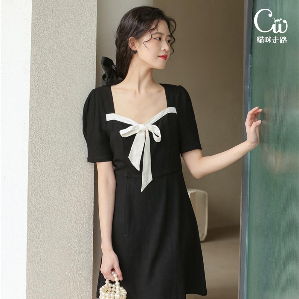 [CW.貓咪走路]韓版甜美輕熟高腰綁帶方領洋裝(KDD-10916)