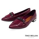 Tino Bellini 巴西進口流蘇鐵鍊好穿平底鞋_暗紅