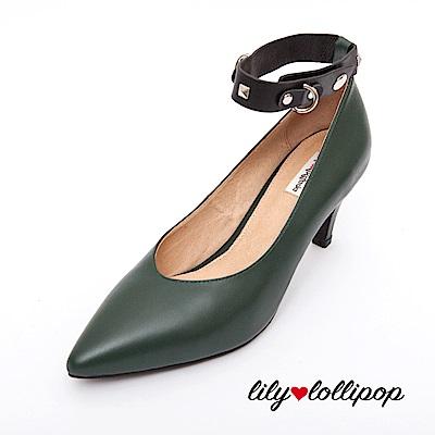 Lilylollipop 搖滾卯釘腳踝皮鏈高跟鞋--暗岩綠色
