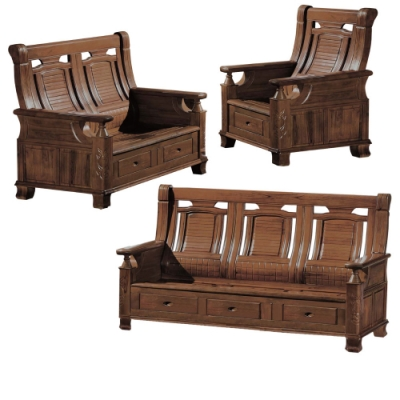 文創集 亞梭典雅風樟木實木收納式沙發椅組合(1+2+3人座組合+收納抽屜設置)