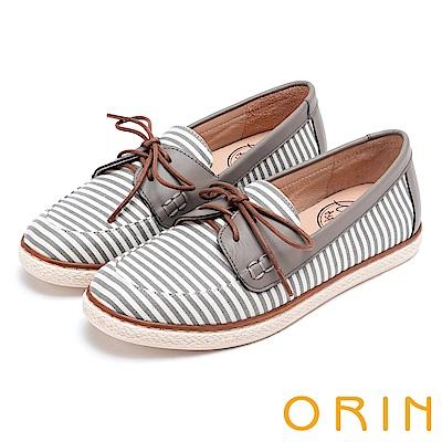 ORIN 海洋渡假風 條紋質感拼接平底休閒鞋-灰色