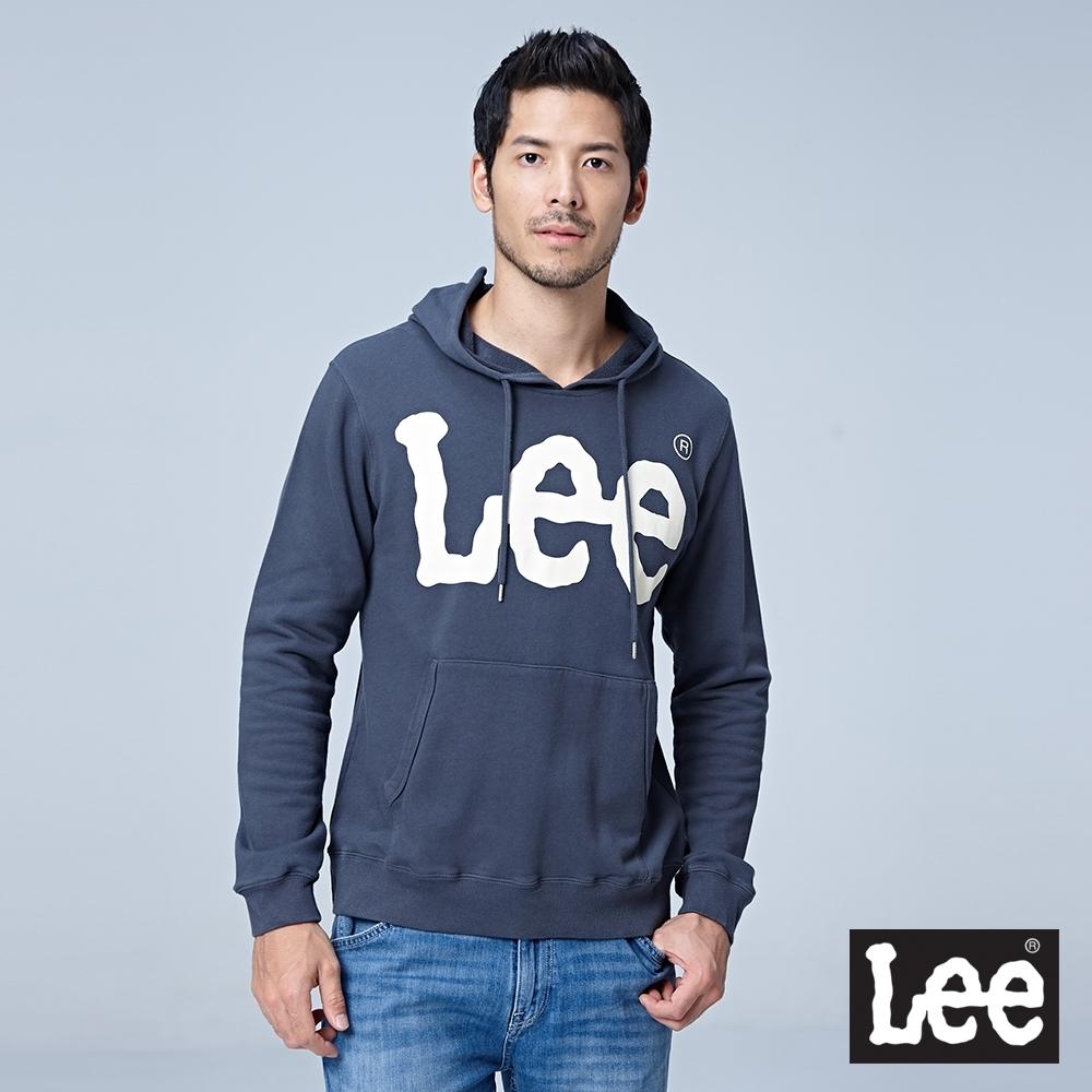 Lee 大LOGO文字連帽厚T 男 深灰