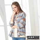 JEEP 女裝 法蘭絨格紋長袖襯衫式外套-灰格紋