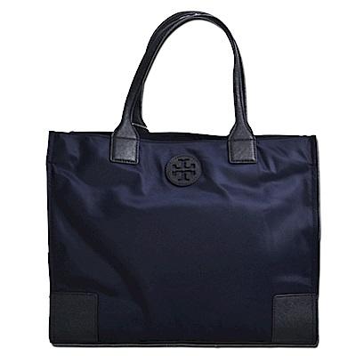 TORY BURCH ELLA縫線尼龍拉鍊肩背包-中/靛藍色