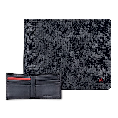 MONDAINE 瑞士國鐵國徽系列十字紋牛皮8卡短夾 - 黑