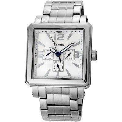 Canody 成熟個性三眼日期手錶(CM5631-B)-銀/41mm