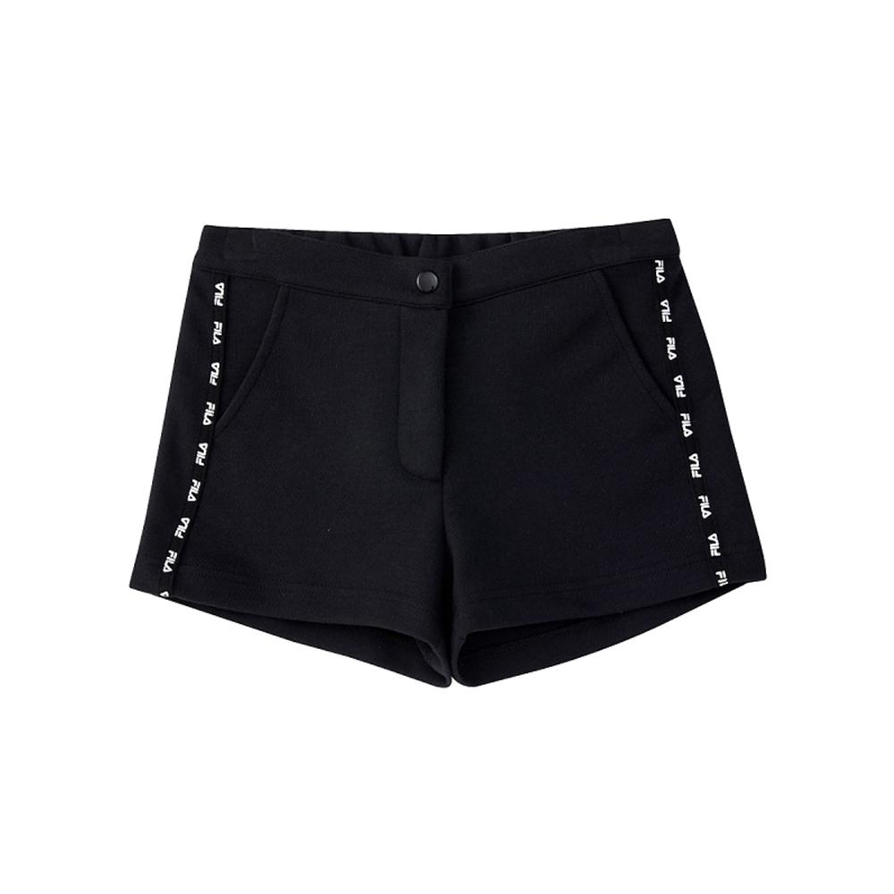 FILA KIDS #架勢新潮 女童短褲-黑色 5SHV-4417-BK