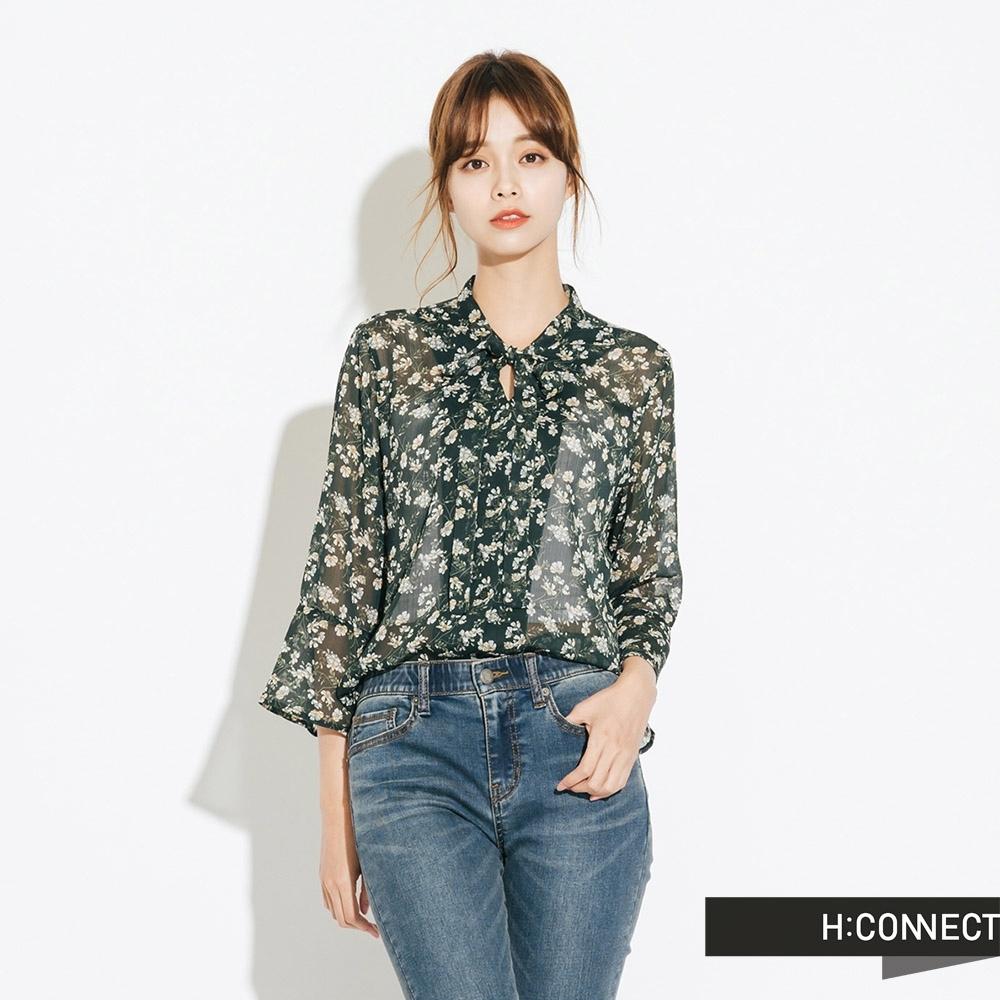 H:CONNECT 韓國品牌 女裝-氣質綁結碎花上衣-綠