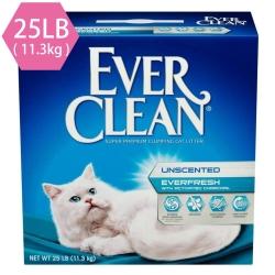 藍鑽EVER CLEAN 雙重活性碳低過敏結塊貓砂(白標)25LB