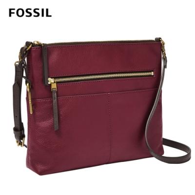 FOSSIL 母親節優惠 Fiona 真皮輕便休閒斜背包 大款-咖啡紅色 ZB7267599